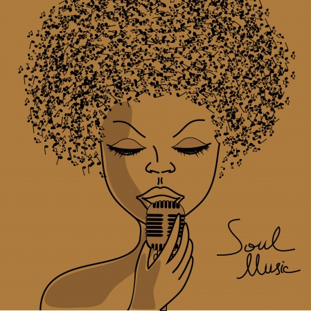 soul: Singer silhouette with musical notes hair background