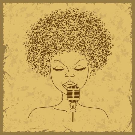 african woman face: Cantante faccia silhouette con i capelli note musicali su uno sfondo vintage