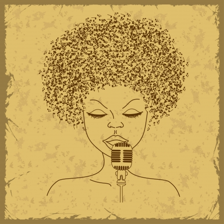 funk music: Singer face silhouette with musical notes hair on a vintage background
