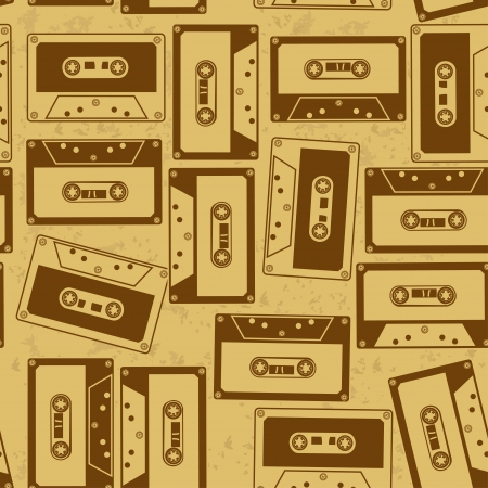 analogical: Vintage seamless pattern of audio cassettes