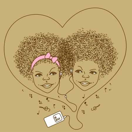 funk music: Illustration of children listen to music by player Illustration