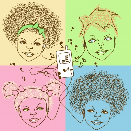 adolescent african american: Illustration of children listen to music by player Illustration