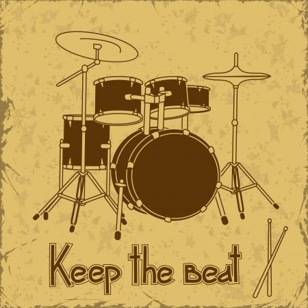 Illustratie van de trommel die op een vintage achtergrond
