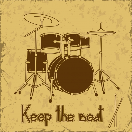 Illustration of drum set on a vintage background