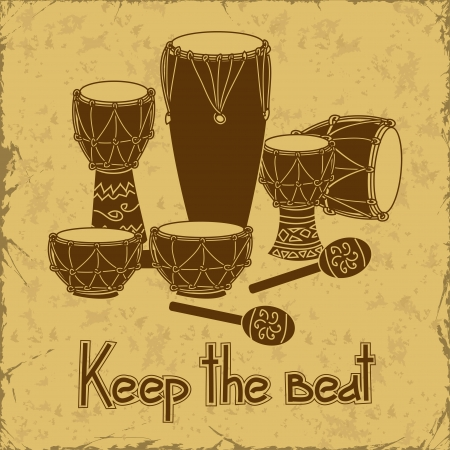 Illustration of African percussion drum set on a retro background