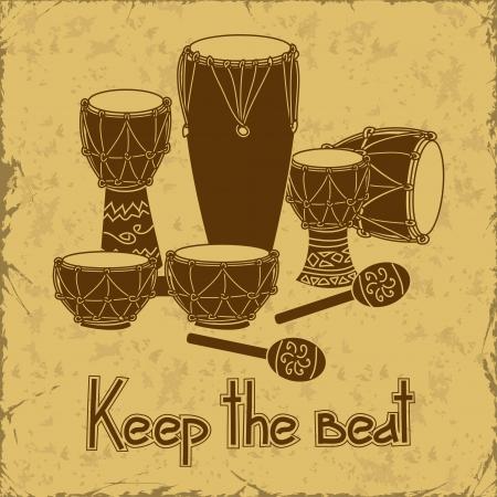 aboriginal: Ilustraci�n del tambor de la percusi�n africana en un fondo retro