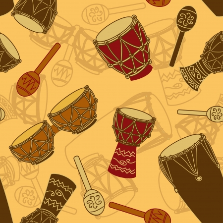 Seamless pattern of African percussion
