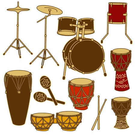 bongo drum: Isolated icons of drum kit and African percussion Illustration