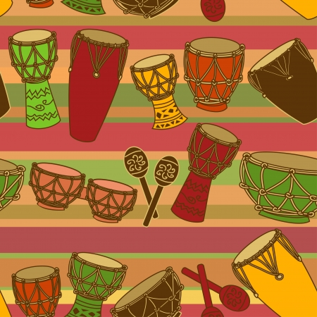 Seamless pattern of colorful African percussion Vector