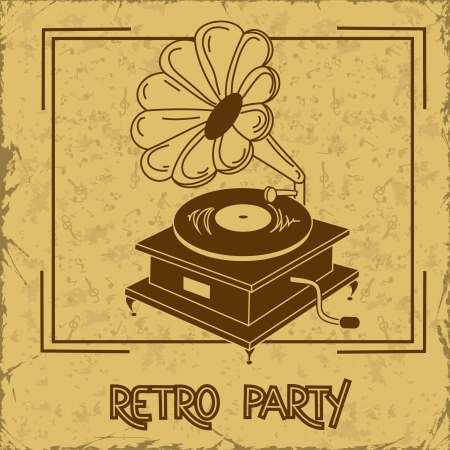 phonograph: Invitation or flyer to retro party with gramophone on a vintage background