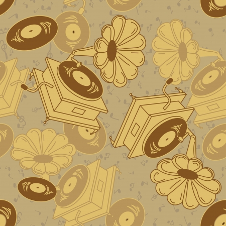 Vintage seamlees pattern of gramophones Vector