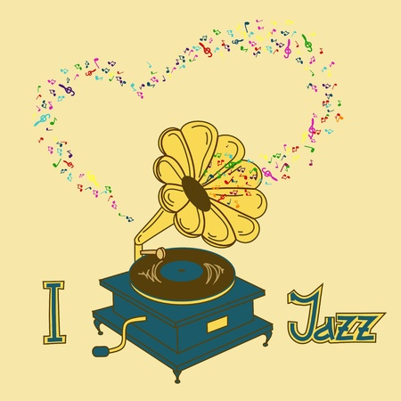 Illustration of gramophone and platter Vector