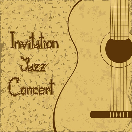Invitation to concert with guitar on a vintage background Vector