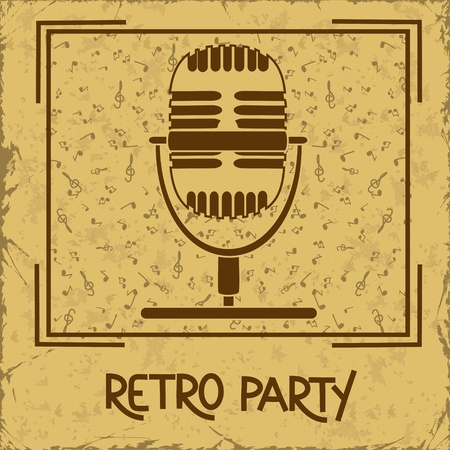 funk: Invitation or flyer to retro party with microphone on a vintage background Illustration