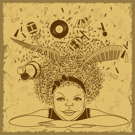 mic: Illustrazione della ragazza sogna di essere un musicista su sfondo retr� Vettoriali