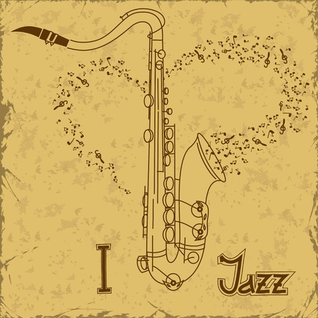 Vintage poster with saxophone Vector