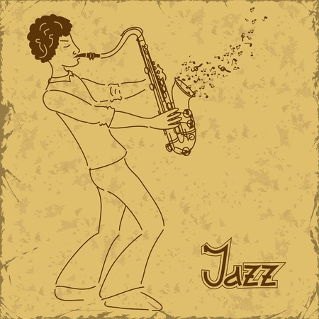 funk: Vintage poster with musician playing saxophone Illustration