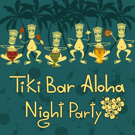 hawaiian culture: Funny invitation to Tiki bar night party Illustration
