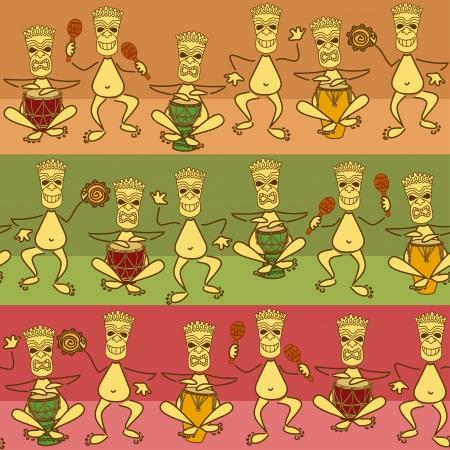 band bar: Seamless pattern of funny aborigine band