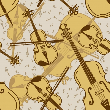 contrabass: Vintage seamless pattern of contrabass and violin