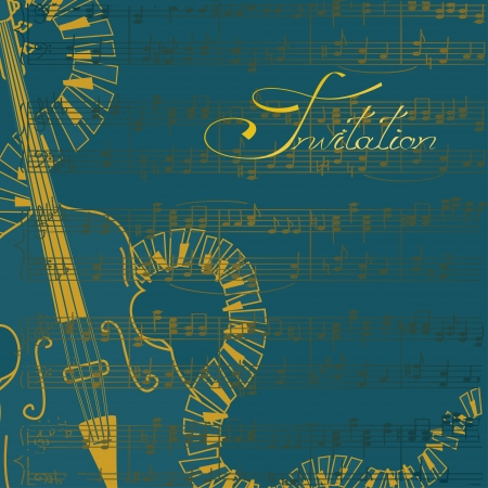 contrabass: Music invitation or flyer with contrabass and keyboards