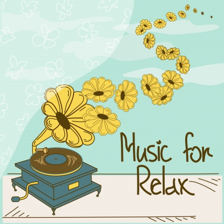 window sill: Illustration of gramophone standing on a windowsill and text music for relax
