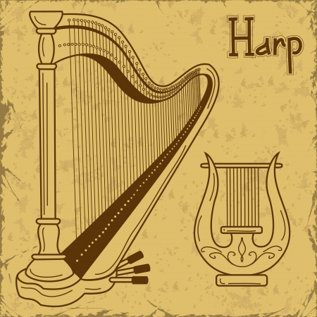 lyre: Vintage illustration of isolated harp and lyre