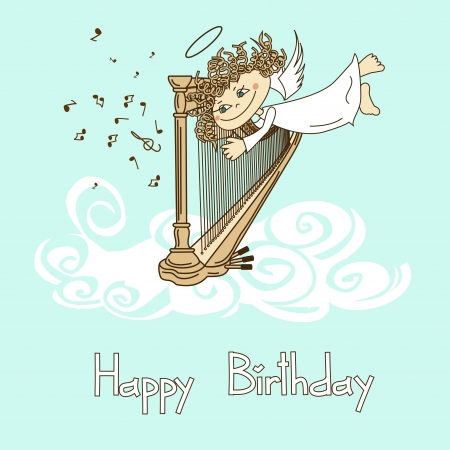 folk music: Card for birthday with funny cartoon cupid playing the harp