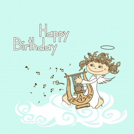 birthday angel: Card for birthday with funny cartoon cupid playing the lyre
