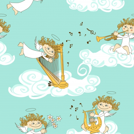 Trumpets: Seamless pattern of funny cartoon band of angels