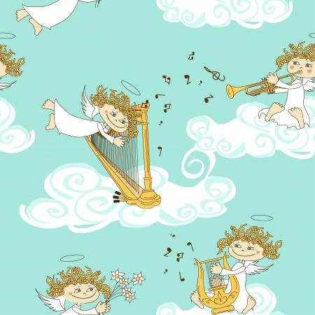 folk music: Seamless pattern of funny cartoon band of angels