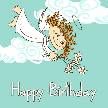 Card for birthday with funny cartoon cupid and flowers Vector