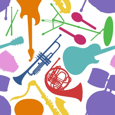 Seamless pattern of colorful musical instruments on a white background Ilustração