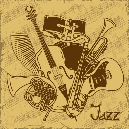 Background with musical instruments on a vintage background Çizim