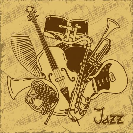 instruments de musique: Fond avec des instruments de musique sur un fond de cru Illustration