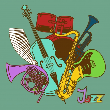 Background with colorful musical instruments Stock Vector - 20179533