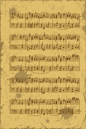 音楽の音符のステーブのビンテージ シート