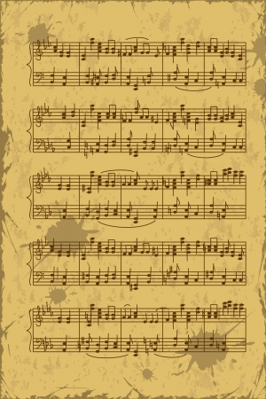 Vintage sheet of music stave notes