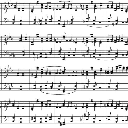 Naadloze patroon van de muziek af te wenden noten op een witte achtergrond