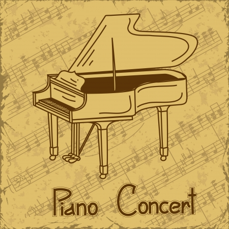 Vintage background of grand piano and music stave Vector