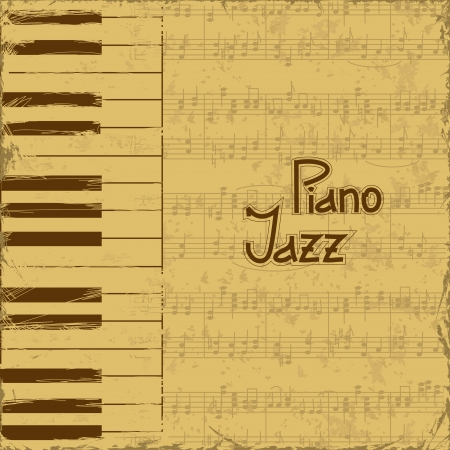 piano roll: Vintage music invitation with keyboards and note stave Illustration