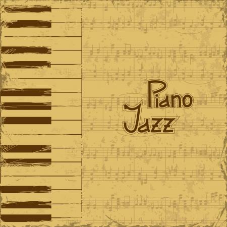 Vintage muziek uitnodiging met toetsenborden en nota notenbalk
