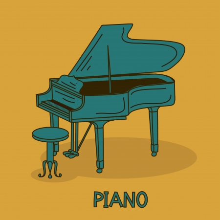 piano roll: Illustration with grand piano and chair