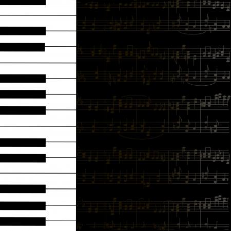 piano: Fondo de la m�sica con el teclado y evitar las notas en blanco y negro