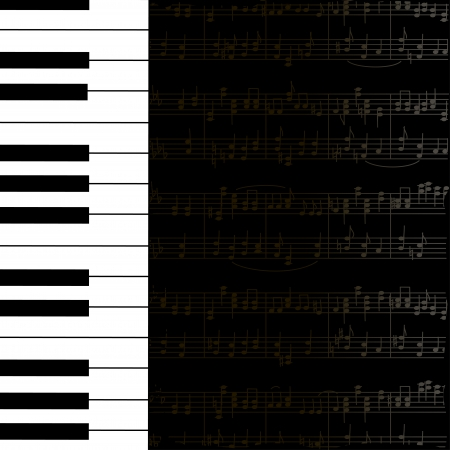 Music background with keyboard and stave notes in black and white