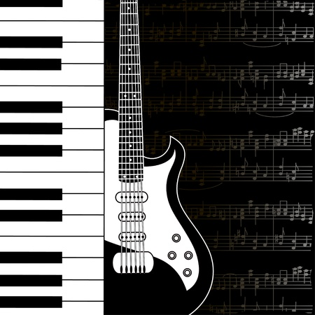 Music background with keyboard, guitar and stave notes in black and white Vector