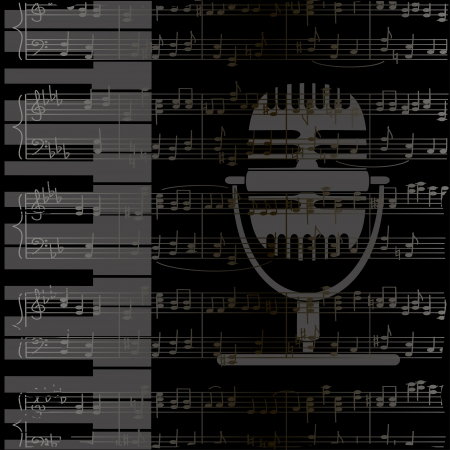 Music background with keyboard, microphone and notes stave Vector
