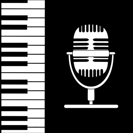 funk: Music background with keyboard, microphone and stave notes  in black and white