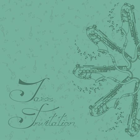 Vintage music background with saxophones Vector