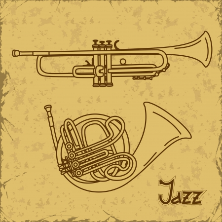 Music background with trumpets on a vintage background Stock Vector - 20179558